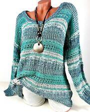 Pullover Damen Grobstrick Pulli Oversize in türkis blau gestreift Gr. 44 46