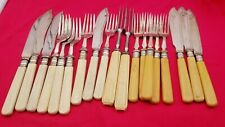 19 Vintage Celluloid or Bakelite EPNS Forks & Knives #6395