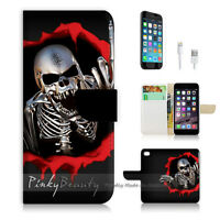 ( For iPhone 6 / 6S ) Wallet Case Cover P0062 Skull