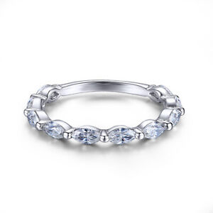 18k White Gold Marquise Cut 0.7ct Flawless Moissanite Engagement Band Ladys Ring