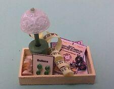 Dollhouse miniature 1:12 Handcrafted craft tray scissors tape measure, books etc