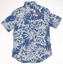 Polo Ralph Lauren Pullover Hawaiian Floral Print Linen Shirt Sz S Blue NEW 6566