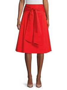 NWT Tory Burch Cotton Wrap Skirt Red 8 $348