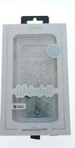 CaseMate Waterfall Case fits Samsung Galaxy S10 Silver Iridescent Liquid Glitter