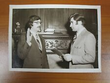 Vtg Glossy Press Photo Natick MA Unknown Man Sworn In Awarded Paul Guzzi 1980s