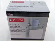 "Delta HEXTN16-BN 8"" Glass Bath Corner Shelf with Hand Towel Bar Brushed Nickel"