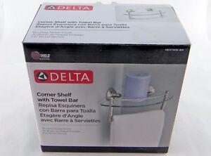 "Delta HEXTN16-BN 8"" Glass Bath Corner Shelf with Hand Towel Bar Brushed Nickel"