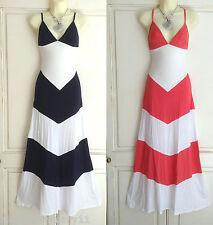 Fab ex tienda Azul Marino / Coral Y Blanca Chevron vestido maxi de verano 10 12 14 16