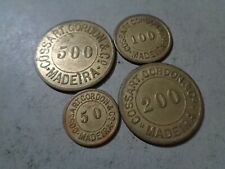 PORTUGAL / MADEIRA 4 RARE OLD TOKENS LOT COMPLETE SET