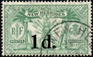 New Hebrides 1924 Surcharge Issue  1d on 1/2d Green   SG.40 Used   Cat:£24