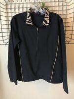Bolle Black Zip Front Jacket Animal Print Collar Women's Size M Medium Tennis