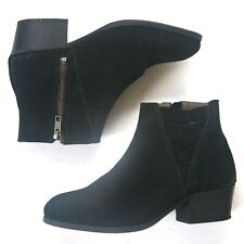 Size 7 - HUDSON LONDON Women's Black Suede Low Ankle Boots