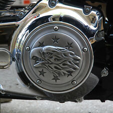 Liberty Eagle derby cover in aged aluminum.  Harley Twin Cam models. DCLA-1