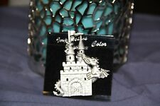JJ Jonette Vintage Signed Dragon castle chasing man/top Pewter Pin RARE Brooch