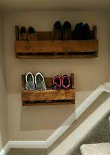 Medium Reclaimed Wood Wall Mounted Shoe Rack Storage Organiser