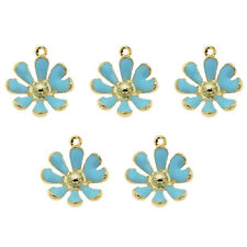 20pcs/lot Alloy Jewelry Pendants Blue/Gold Daisy Flowers Charms Accessories