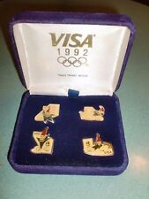 LOT OF 4 VINTAGE 1992 VISA ALBERTVILLE FRANCE WINTER OLYMPIC PINS IN VELVET CASE