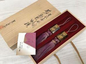 Y1790 FUCHIN Wajima gold lacquer box Japanese kakejiku Hanging Scroll Weight