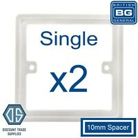 2x BG Nexus White 1 Gang Single 10mm Depth Square Spacer Frame Back Box Plate