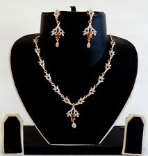 AMERICAN DIAMOND DELICATE NECKLACE SET-CZ JEWELRY-VALENTINE GIFT FOR HER ADJW49