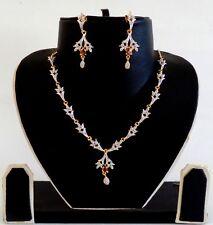 AMERICAN DIAMOND DELICATE NECKLACE SET-CZ JEWELRY-VALENTINE GIFT FOR HER ADJW49