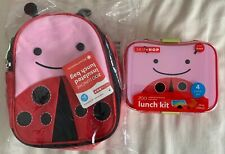 Skip Hop Zoo Insulated Lunch Bag Plus Lunch Box Kit Snack Container, Ladybug Red