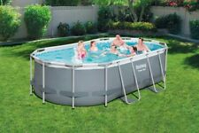 Bestway 14ft x 8ft Power Steel Oval Frame Above Ground Pool Set (Pump + Ladder)
