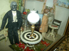Antique Erhard & Söhne, three-pc. dollhouse ormolu table lamp with Bristol shade