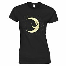 Cute Moon Womens TShirt Hugging Night Sky Cartoon Adorable Space Friends Tee