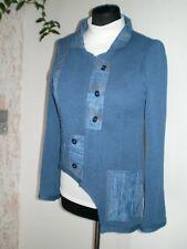Strickjacke mittel blau Gr: S, 36, Outdoor Jacke,Einzelstück,Handarbeit