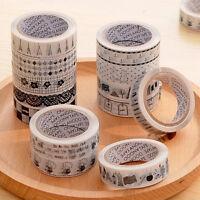 10 stk Schwarz Weiß Geometrie Rolle DIY Washi Papier Dekor Sticky Tape Masking