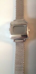 Vtge ECCLISSI DIGITAL Sterling Silver Watch-Mesh Band-Large Number Ladies-RARE