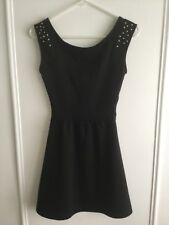 PacSun Kirra Black Studded Sleeveless Skater Dress Size XS Open Back SO CUTE!