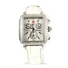 Chronograph White Watch + 8 Straps Michele Stainless Steel .66Tcw Diamond Deco