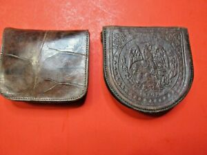 ANTIQUE LEATHER EMBOSSED COIN PURSE LOT GROUP PAIR 1890'S POCKET CHANGE RARE OLD