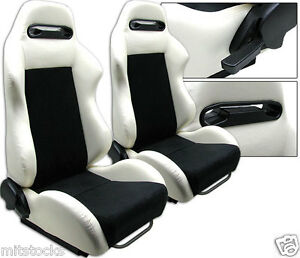 NEW 2 X WHITE & BLACK RACING SEATS RECLINABLE + SLIDERS FOR ALL BUICK **