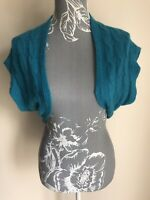 Bay Womens Bolero Cardigan Size 13 Electric Blue Cable Knit Angora Wool Blend