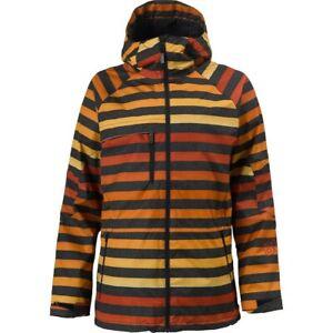 Burton 🏔️ Size L Men's Launch Insulated Orange/Black Striped Snowboard Jacket