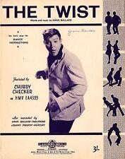 CHUBBY CHECKER - The Twist -  60's ORIGINAL SHEET MUSIC - AUSTRALIA