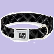 "Buckle Down Black Gray""Plaid X""NEW Dog Collar Medium 11-17""Seatbelt Buckle-Down"