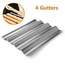 4 Non-stick Perforated Baguette Pan French Bread Pan Wave Loaf Bake Mold S1 4 Slot Baking Mould