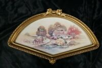 Vintage Homco Home Interiors Autumn  Watercolor Print in Syroco Gold Fan Frame