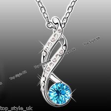 Infinity Love lariat Pendant Necklace Sapphire Blue Crystal Diamond Xmas Gift