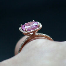 Natural Diamond 2.69 Ct Pink Sapphire Gemstone Ring Solid 14kt Rose Gold Rings