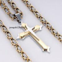Men's Stainless Steel Gold Silver Box Byzantine Chain Necklace Cross Pendant