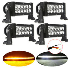"4x 7.5"" INCH Dual Color Amber White LED Light Bar Combo Offroad Fog Driving 72W"