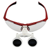Sale! Red Dental Surgical Medical Binocular Loupes 2.5X 420mm Optical Glass FDA