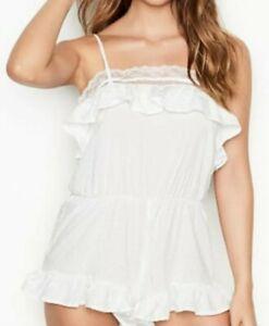 Victoria Secret Floral Lace white ruffle lingerie Romper Large *NWT*