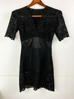 Thurley Designer 100% Silk Black Dress Accentuated Waist Cropped Sleeve Size 8