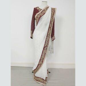 Zarkan Indian Designer Sale Saree Size M Off White Georgette **RRP£400**
